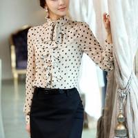 Free shipping 2013 spring gentlewomen women's ruffle dot chiffon shirt