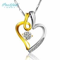 """Poshfeel"" brand  high quality couples heart style women & men  925 silver + 18k gold platinum plated + zircon crystal pendants"