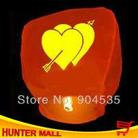 Wholesale 25pcs/lot chinese sky lamp oval shape Wishing Lamp Sky Fire Chinese Lantern with a heart pattern