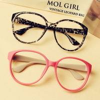 (Min order $10) Black round box vintage plain glass spectacles non-mainstream glasses myopia