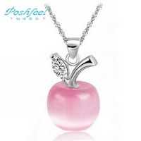 Wholesale jewelry  PF  brand 100% genuine ladies 925 silver & AAA  cat's eye stone & platinum plated  apple  pendants