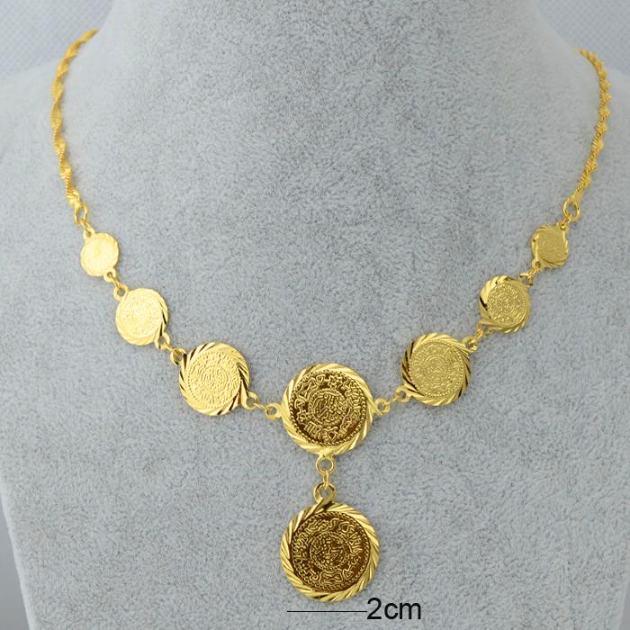 Wholesale luxury coin set necklace braceletearringring 18k gold arab women aloadofball Choice Image