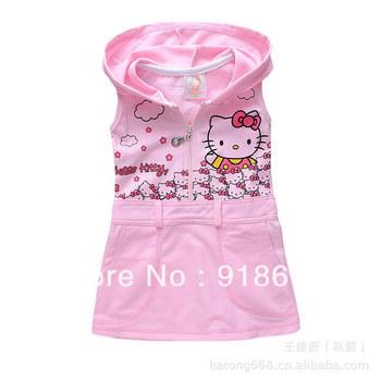 Best selling children sundress baby girl's hello kitty sleeveless dress