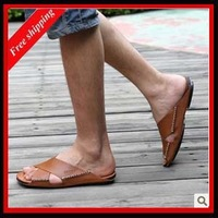 2013 new!! HOT!!Summer male sandals casual sandals cowhide REAL cow leather free shipping