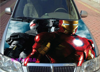 HD inkjet hood stickers / car 3D printing stickers / black and red Iron Man decorative stickers,Hood modification