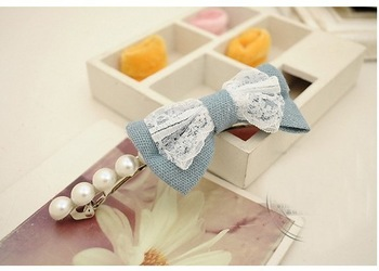 Free shipping wholesale jean bow hairpins hair clips barreties women girls pearl hair accessories hair grips