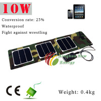 10W portable solar cell phone charger single crystal plate waterproof to Fight fell to anti-aging folding solar panel