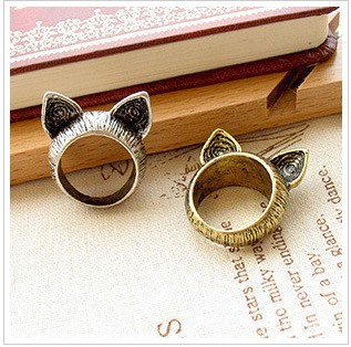 R017 Min.order is $8 (mix order) New Design Lovely Cat Ear Rings Jewelry wholesales!! Factory Direct Sales Freeshipping!