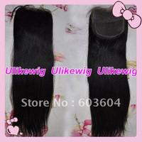 "Ulike Hair --16"" #1 Yaki Straight Brazilian Virgin Hair Top Closure (4""x4"")"