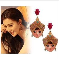 Min.order $10 (mix order) Hot Sale 2013 Fashion women Indian Doll stud earring,free shipping!