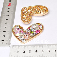 Colorful Rhinestone Alloy Metal Love Heart DIY Cell Phone Case Jewelry Accessories 1PCS cabochon
