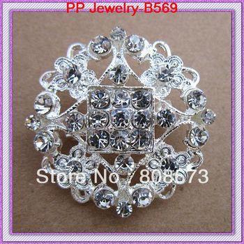 Free Shipping Wedding Bridal Dress Small Floral Brooch Pin Silver Toned/Crystal/Rhinestone