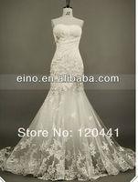 ZY090-wholesle free shipping fashion Custom made gorgeous lace strapless whtie ivory wedding dress