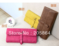 Free shipping Wallet 2013 fashion female long design retro rivet half-cap pattern bright candy colors womens' purse,day clutch