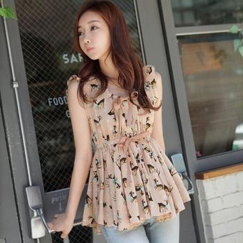 Women Lady Sleeveless Short Sweet Deer Printed Chiffon Shirt Tops Blouse # L034682
