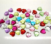 400 Mixed Acrylic Heart Beads Flatback Cabochon Scrapbook Craft Embellishment