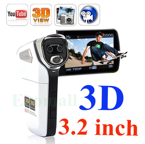 Digital Video Camera Youtube 3D Camcorder 3.2 Inch TFT LCD 12MP free shipping(China (Mainland))