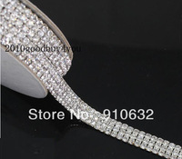 1 Yard Diamond 3 Rows 5mm A Grade Real Rhinestone Crystal Beads Wedding Cake Banding Trim Cake Ribbon For Wedding Decoration