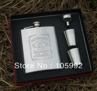 Stainless Steel Portable Vodka Wine Set 7OZ Flagon+2 Goblet+1 Filling Funnel Gift Box Packing Whisky Hip Flask