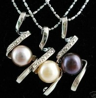 3pcs Black White Purple Akoya Pearl Pendants Necklace