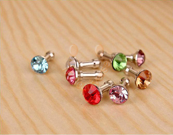 Anti Dust 3.5mm Crystal Earphone Jack Plug Cap For iphone 5 Galaxy I9500 Free shipping& Wholesale