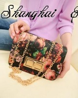 2013 vintage oil painting flower lock bag chain mini  messenger bag small bags free shipping