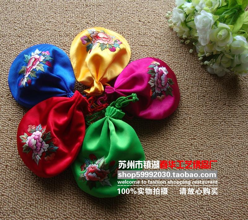 Crafts gift handmade embroidered coin purse fu word peony lucky bag suzhou embroidery finished product(China (Mainland))