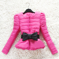 Ladies wind 2012 princess puff sleeve bow design short outerwear short design wadded jacket