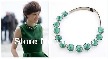 stars same paragraph round emerald pendants green splendor resin stones imitation leather elegant choker necklaces for women 868