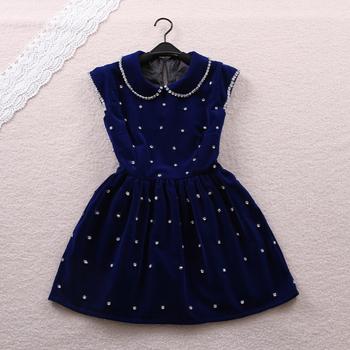 Free shipping 2014 winter sweet small butterfly sleeve peter pan collar high waist dress one-piece dress High quality