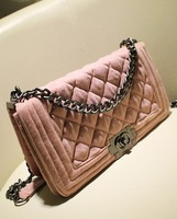 2013 small fashion british style velvet sewing thread plaid coarse chain shoulder cross-body bag