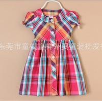 Brand modest casual flower girls dress clothes, plaid girls beach dresses children Christmas gift
