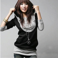New Style Women's Lady Girl Casual Trendy Hooded T-shirt Long Sleeve Tops # L034690