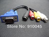 Wholesale VGA SVGA to S-VIDEO 3 RCA TV AV CONVERTER CABLE ADAPTER Free DHL Shipping