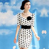 Free shipping 2014 Summer New Brand 50'S White Polka Dot Elegant Slim Belt High Waist OL One-piece Women's Dress