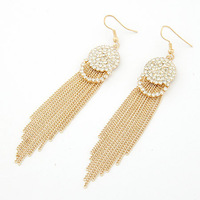 Min. order is $10 (mix order) free shipping 2014 new jewelry european style fashion tassel drop earrings rhinestone long design