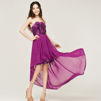 The wedding dress the bride bridesmaid evening dress tube top purple banquet evening dress low-high dress -Free shipping