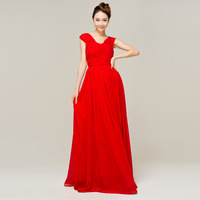 Formal dress long design red double-shoulder bride married slim dress evening dress bridesmaid formal dress dinner
