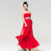 Bridesmaid dress 2013 red tube top one shoulder chiffon long design wedding dress evening dress -Free shipping