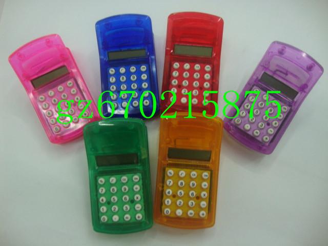 10pcs/lots Cartoon transparent small clip calculator mini calculator randomly send 46g/pcs pocket size button battery supplier(China (Mainland))