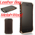 Luxury Aircraft Aluminum + Wood Element Sector 5 Ronin Bumper Leather Case For iphone 5,5pcs/lot,HK/China Free Shipping, A0213