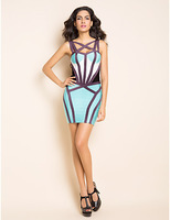 DHL/EMS free shipping 2013 newest 'ROUX' HOURGLASS BLUE STRAPPY BANDAGE DRESS