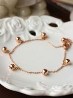 Titanium 14k rose gold color gold bell anklets