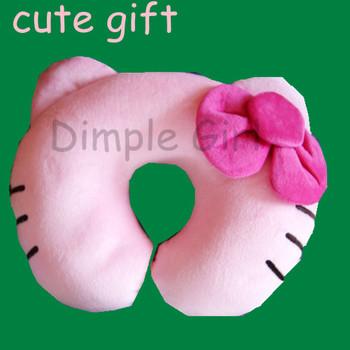 cute flower applique pink cat head cushion massage neck support hello kitty u shape pillow for kids girl women girlfriend car