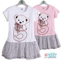 5 bear girls summer clothing short-sleeve dress T-shirt skirt child summer t-shirt dress 8217  (CC007)