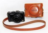 Light brown Leather camera case bag Cover for Panasonic Lumix DMC-LX7 LX7 LX5 + Free shipping