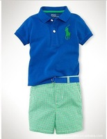 1pcs retail!2013new style pants sets for kids polo t shirt +fashion Five minutes of pants cotton suits +free shipping