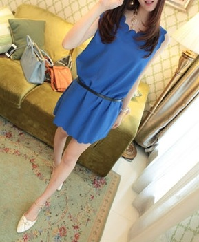 2013 new fashion women's one-piece dress laser perforated petals scalloped chiffon vest op
