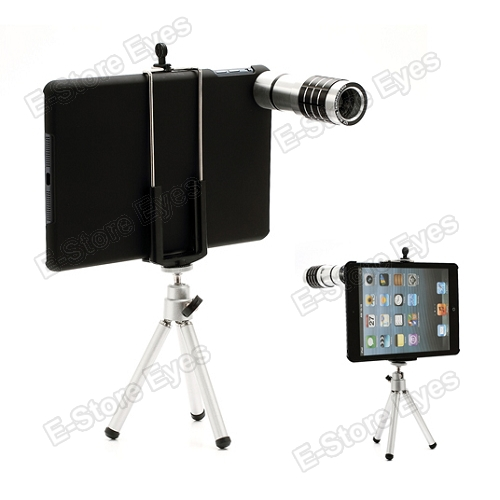 12X Zoom Telescope Telephoto Lens+ Tripod + Hard Skin Case Cover Protector for Apple iPad Mini free shipping(China (Mainland))