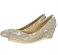 women pumps 2014 new arrival rhinestone shoes pumps diamond low heel women's wedge wedding shoes pump